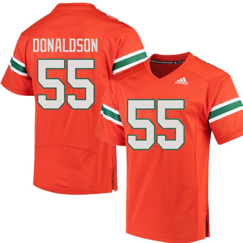 Adidas Miami Hurricanes #55 Navaughn Donaldson College Football Jerseys Sale-Orange